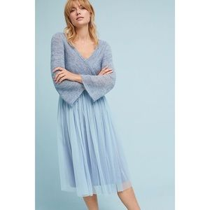Anthropologie blue tulle and sweater layered dress